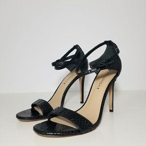 Via Spiga Tiara Black Snakeskin Ankle Strap Heels